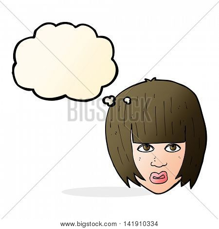 cartoon annoyed girl with big hair with thought bubble