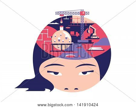Idea in head flat design. Creative mind and think, solution and imagination, vector illustration