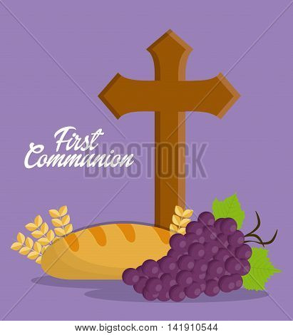 cross grapes bread wheat ear icon. First communion concept. Flat and Colorfull illustration. Vector graphic