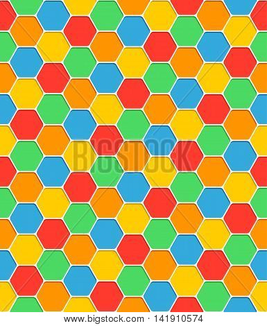 Seamless pattern honeycomb texture hexagon shapes with shadow. Blank abstract color background. Empty template swatches vector illustration backdrop clip-art web design element saved in 8 eps