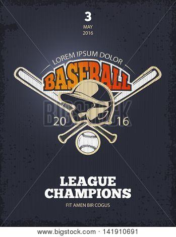 Retro baseball poster. Logo or t-shirt print template for college team. Vector illustration
