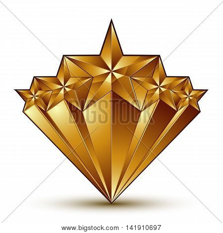 Geometric vector classic golden element isolated on white backdrop
