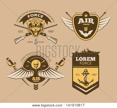 Desert military vintage vector labels, logos, emblems. Badges with shield force illustration