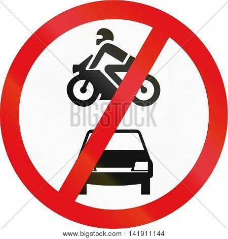Road Sign Used In The African Country Of Botswana - Motor Vehicles Prohibited