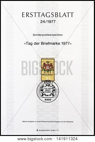 GERMANY - CIRCA 1977 : Cancelled First Day Sheet printed by Germany, that shows Coat of arms.