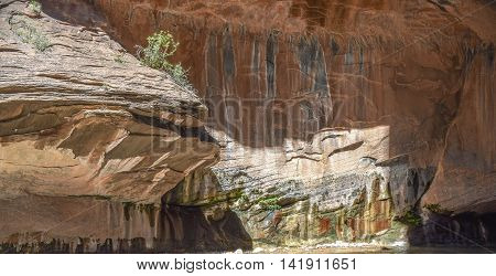 Grey, black,red and tan rock formations and patterns, mid-morning, along The Narrows hiking trail, Zion National Park