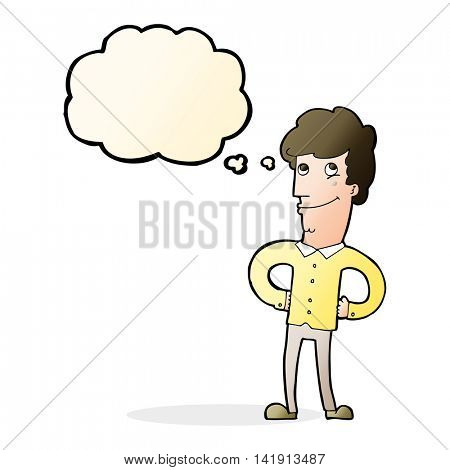 cartoon happy man with thought bubble