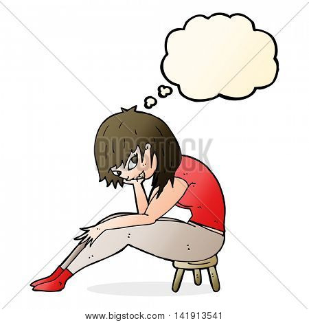 cartoon woman sitting on small stool with thought bubble