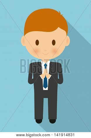 boy kid cartoon black suit icon. First communion concept. Flat and Colorfull illustration. Vector graphic