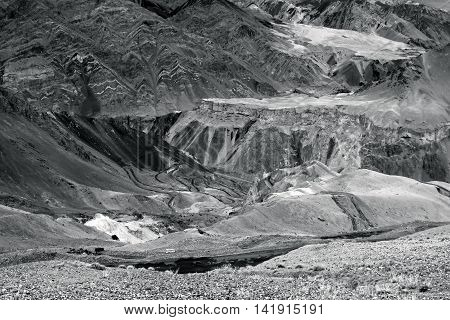 Beautiful black and white aerial view of moonland Himalayan mountain background LadakhJammu and Kashmir India. Stock photograph of Ladakh.