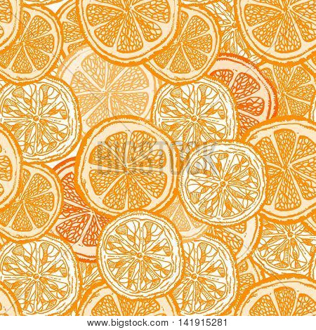 Orange fruit seamless pattern vintage citrus background