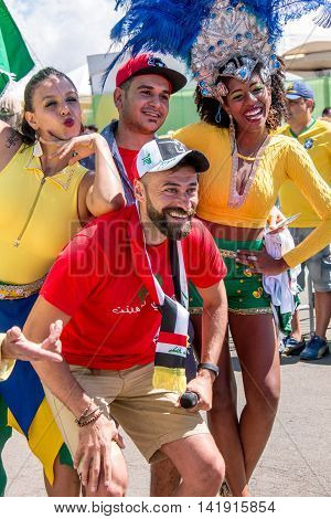 Brasilia, Brazil-August 4, 2016: Brazilian and Iraqi Soccer Fans Gather Outside the Mané Garrincha Stadium for the Opening of the 2016 Rio Olympic Games