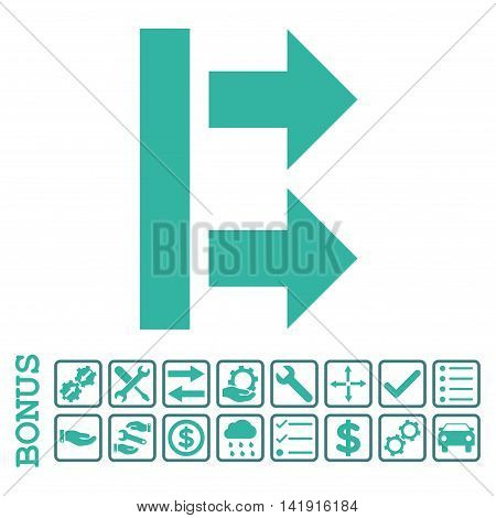 Bring Right icon with bonus pictograms. Vector style is flat iconic symbol, cobalt and cyan colors, white background. Bonus style is bicolor square rounded frames with symbols inside.