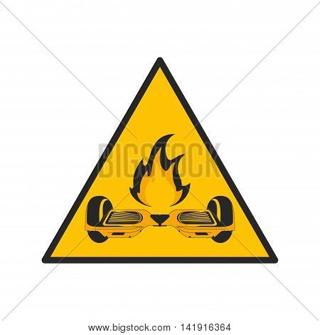 flat design horverboard in flames sign icon vector illustration