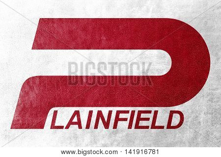 Flag Of Plainfield, Indiana, Usa, Painted On Leather Texture