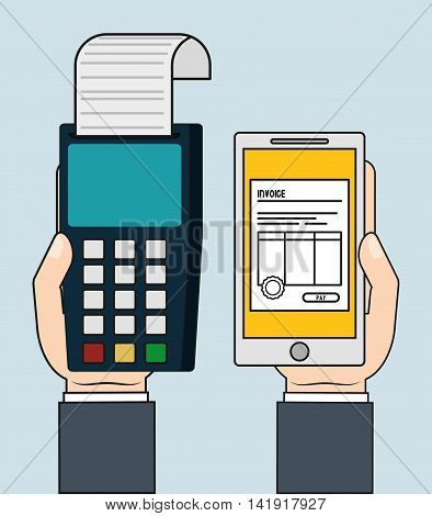 dataphone smartphone document paper invoice payment icon. Flat and Colorfull illustration. Vector graphic