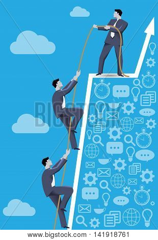 Business concept of teamwork and business team reaching success together. Three businessmen climbing together on dangerous success peak working together and helping each other.