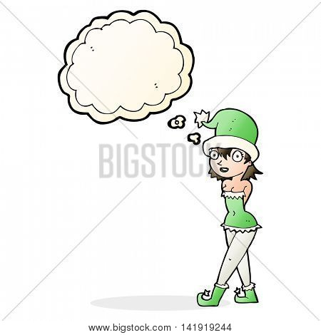 cartoon woman in christmas elf costume with thought bubble