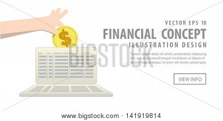 Banner Saving Money And Spending With Saving Account Illustration Vector. Finance Concept.