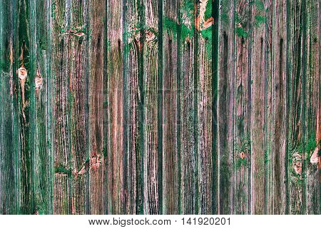 Shabby Wooden Thin Planks Cracked Green Paint