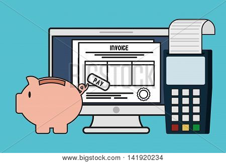 document computer dataphone piggy invoice payment icon. Flat and Colorfull illustration. Vector graphic