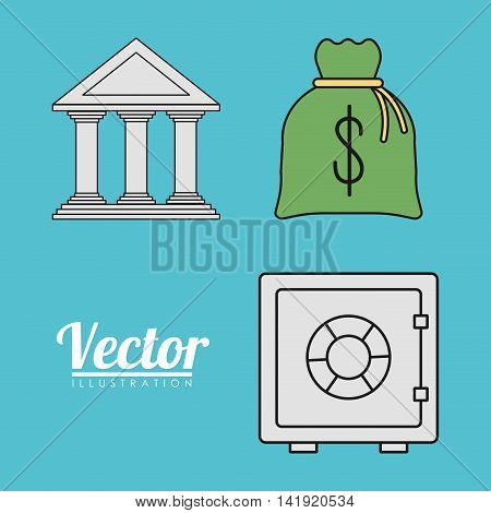 Money bag bank strongbox invoice payment icon. Flat and Colorfull illustration. Vector graphic
