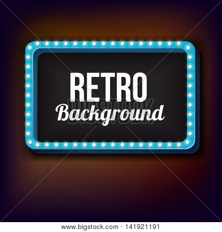 Realistic retro frame. The bulk rectangular frame with light bulbs. Bright light lights fall on a black background. Empty space for your text and advertising. illustration