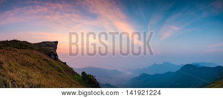 sunrise rock mountains Phu Chi Fa View Point at Thoeng District Chiang Rai ProvinceThailand