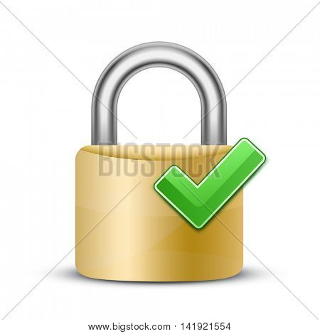 Complete protection sign. Vector illustration of padlock and green check mark