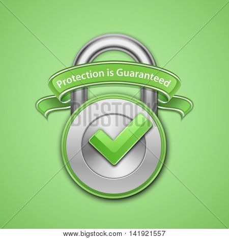Vector illustration of metallic padlock with check mark and label. Protection guaranteed sign