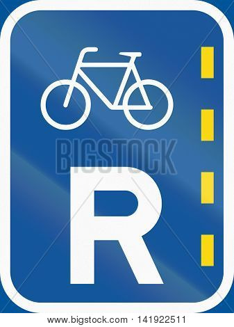 Road Sign Used In The African Country Of Botswana - Reserved Lane Of Bicycles