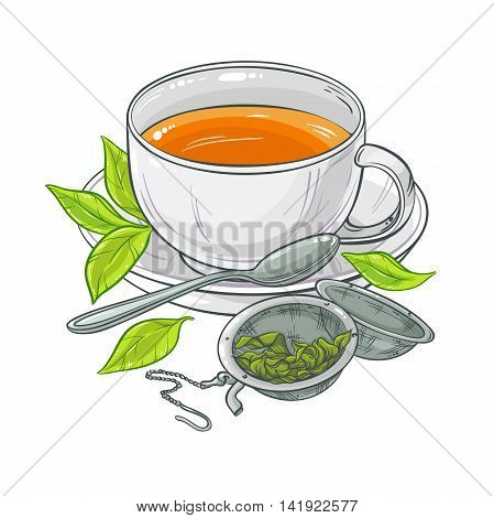 vector illustration with cup of tea, tea spoon and tea-strainer on color background