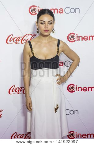 LAS VEGAS - APRIL 14 : Actress Mila Kunis one of the recipients of the Female Stars of the Year Award attends the CinemaCon Big Screen Achievement Awards at The Caesars Palace on April 14 2016 in Las Vegas