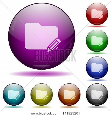 Set of color Edit folder glass sphere buttons with shadows.