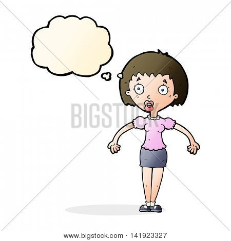 cartoon confused woman shrugging shoulders with thought bubble