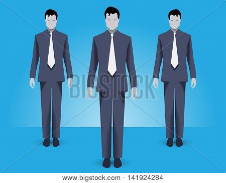 Business concept of teamwork and business special forces team. Three businessmen wearing corporate uniform standing together working together and helping each other.