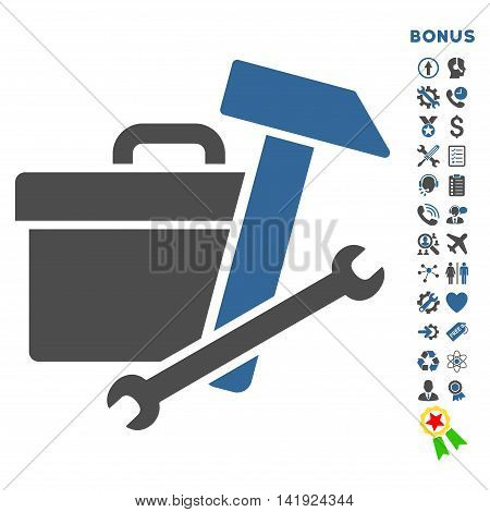 Toolbox icon with bonus pictograms. Vector style is bicolor flat iconic symbol with rounded angles, cobalt and gray colors, white background.