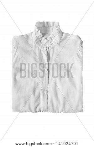 Folded white elegant blouse on white background
