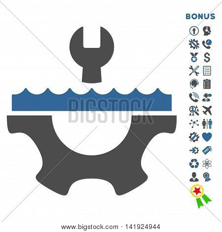 Water Service icon with bonus pictograms. Vector style is bicolor flat iconic symbol with rounded angles, cobalt and gray colors, white background.