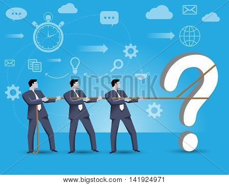 Business concept of teamwork and business team solving complex problem together. Three businessmen catching problem trying to localize it working together under time pressure.