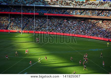 MELBOURNE AUSTRALIA - JULY 16 2016 : Australian football or footy favourite aussie sports at Melbourne Cricket Ground (MCG) Stadium in Yarra Park of Melbourne Victoria Australia.