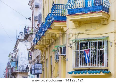 HAVANA CUBA - JULY 18 : Architectural details in old town of Havana Cuba on July 18 2016. The historic center of Havana is UNESCO World Heritage Site since 1982.
