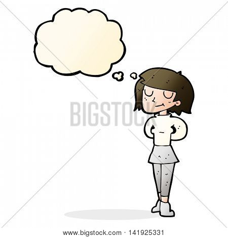 cartoon pleased woman with thought bubble