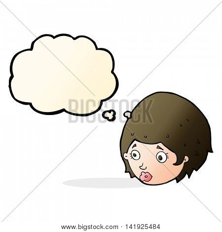 cartoon girl with concerned expression with thought bubble