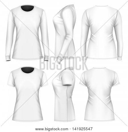 Women's t-shirts long and short sleeve. Fully editable handmade mesh. Vector illustration.