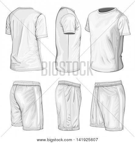 Men's short sleeve t-shirt and sport shorts. Vector illustration. No mesh, spot colors only