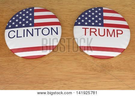 BERLIN, GERMANY - AUGUST 9, 2016: US Presidential Election 2016: Clinton And Trump Badges On Wood 3d illustration