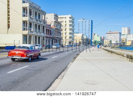 HAVANA CUBA - JULY 18 : Seaside drive Malecon in Havana on July 18 2016. The historic center of Havana is UNESCO World Heritage Site since 1982.
