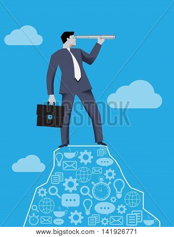 Searching new opportunities business concept. Successful businessman with case and looking glass on the top of the mountain looking around and searching for new opportunities and targets