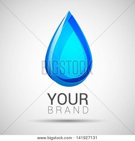 Blue Water Drop Abstract Vector Logo Design Template.